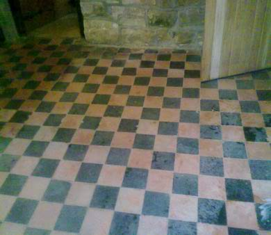 Dirty checkered floor tiles