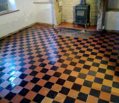 Shiny checkered floor tiles