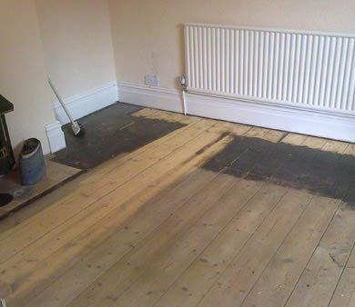 part sanded floor