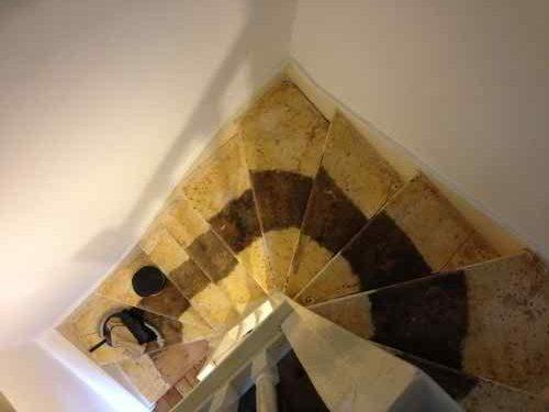 Before sanding pine stairs